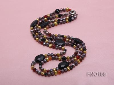 7-8mm multi-color freshwater pearl with carved black agate and crystal necklace FNO189 Image 4