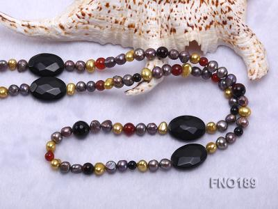 7-8mm multi-color freshwater pearl with carved black agate and crystal necklace FNO189 Image 5