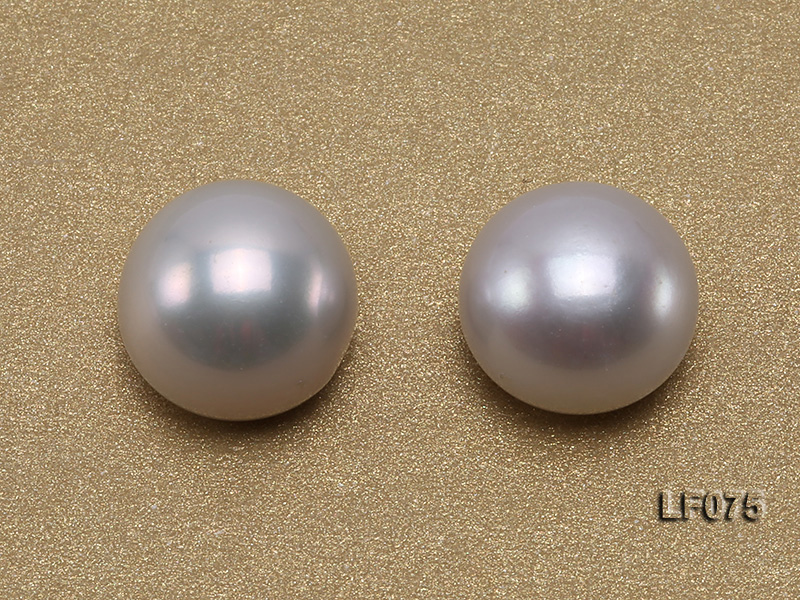 Wholesale Cards of AA-grade 11.5-12mm Classic White Flat Pearls---16 Pairs big Image 3