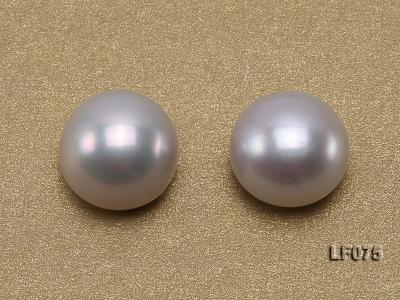 Wholesale Cards of AA-grade 11.5-12mm Classic White Flat Pearls---16 Pairs LF075 Image 3