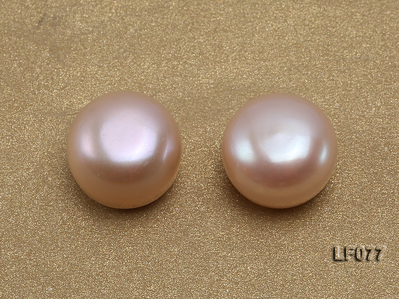 Wholesale Cards of AA-grade 11.5-12mm Natural Pink Flat Freshwater Pearls---24 Pairs big Image 2