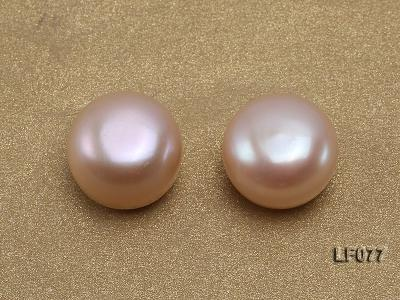 Wholesale Cards of AA-grade 11.5-12mm Natural Pink Flat Freshwater Pearls---24 Pairs LF077 Image 2