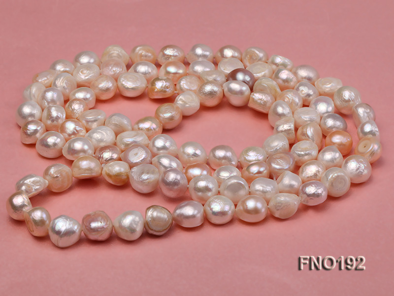 10-11mm white pink and purple freshwater pearl opera necklace big Image 1