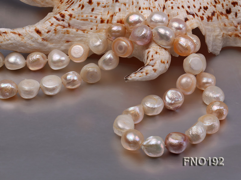10-11mm white pink and purple freshwater pearl opera necklace big Image 2