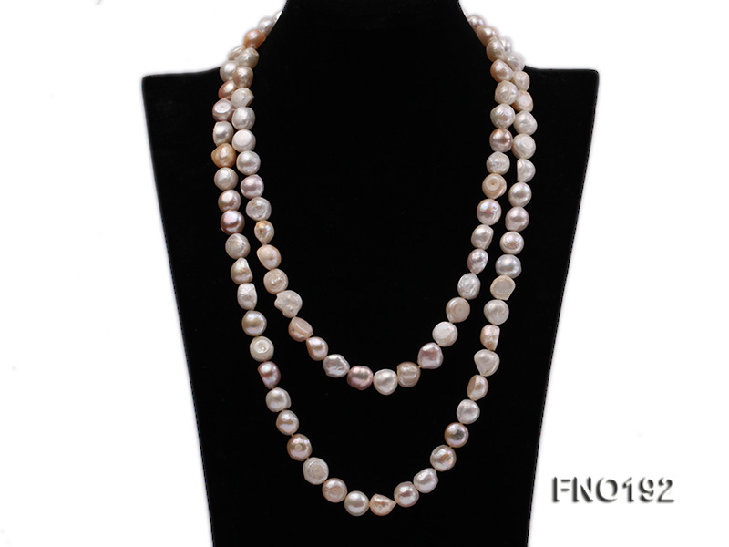10-11mm white pink and purple freshwater pearl opera necklace big Image 4