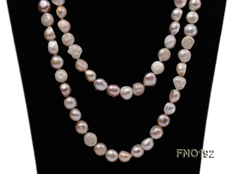 10-11mm white pink and purple freshwater pearl opera necklace big Image 5
