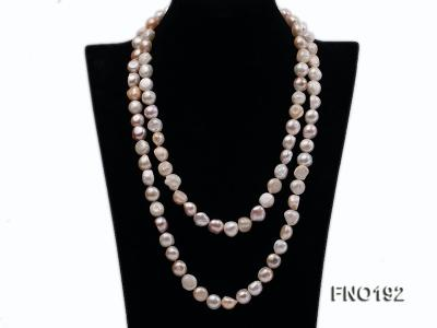 10-11mm white pink and purple freshwater pearl opera necklace FNO192 Image 4