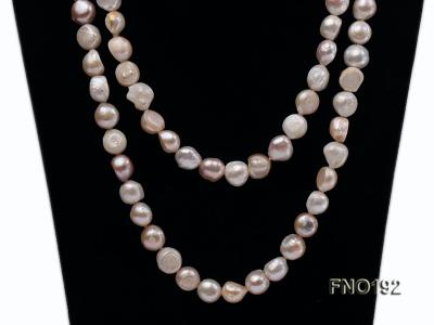10-11mm white pink and purple freshwater pearl opera necklace FNO192 Image 5