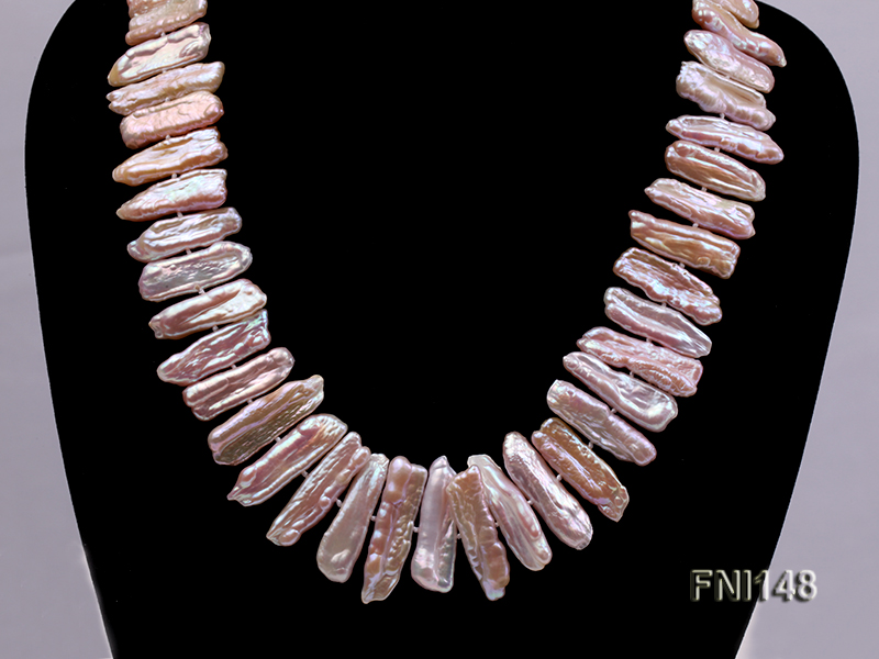 Classic 7x20-7.5x25mm Pink Tooth-shaped Freshwater Pearl Necklace big Image 7