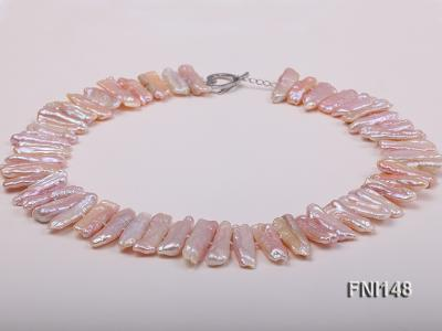 Classic 7x20-7.5x25mm Pink Tooth-shaped Freshwater Pearl Necklace FNI148 Image 2