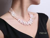 Classic 7x20-7.5x25mm Pink Tooth-shaped Freshwater Pearl Necklace FNI148