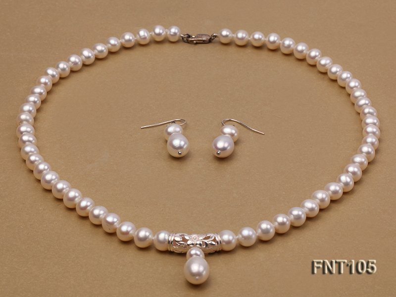 7-8mm White Freshwater Pearl Necklace and Earrings Set big Image 2