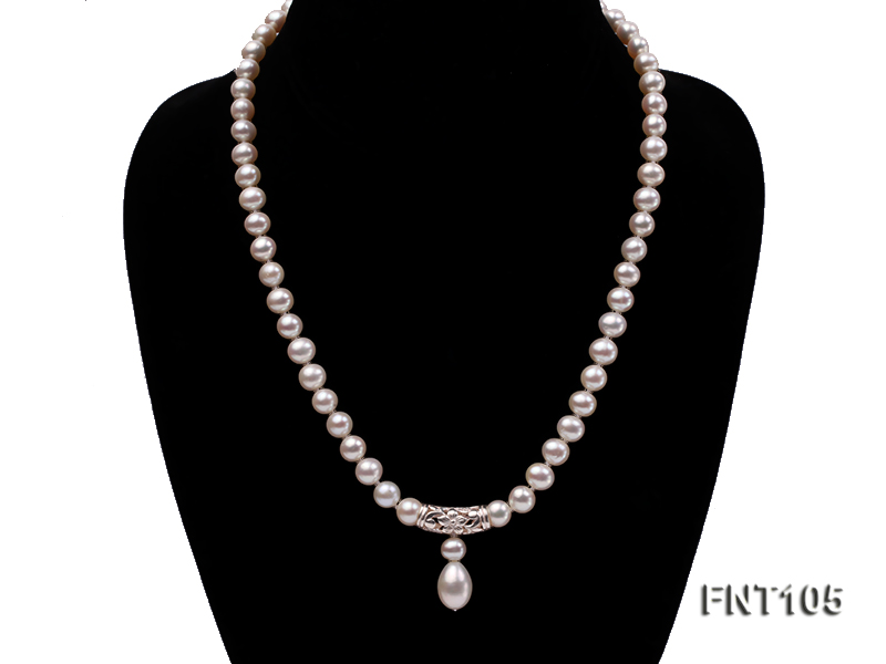 7-8mm White Freshwater Pearl Necklace and Earrings Set big Image 3