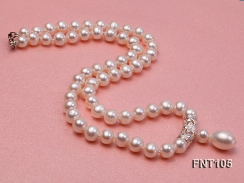 7-8mm White Freshwater Pearl Necklace and Earrings Set big Image 6
