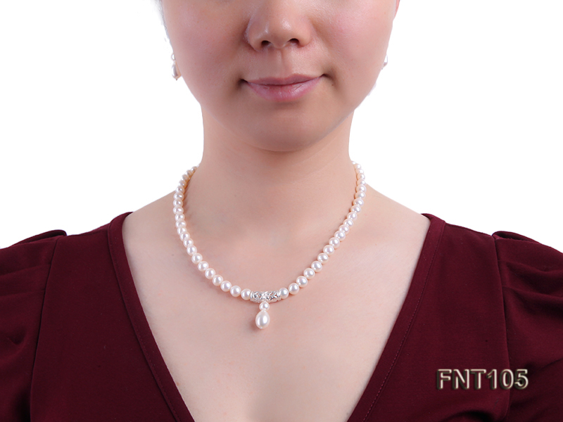 7-8mm White Freshwater Pearl Necklace and Earrings Set big Image 8