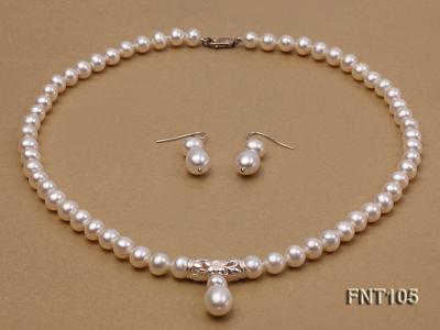 7-8mm White Freshwater Pearl Necklace and Earrings Set FNT105 Image 2
