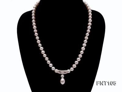 7-8mm White Freshwater Pearl Necklace and Earrings Set FNT105 Image 3