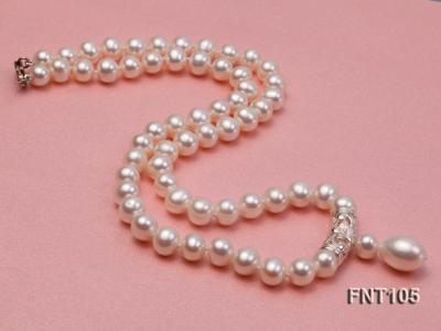 7-8mm White Freshwater Pearl Necklace and Earrings Set FNT105 Image 6