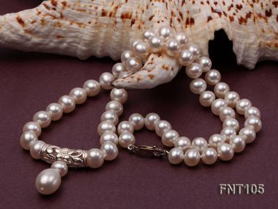 7-8mm White Freshwater Pearl Necklace and Earrings Set FNT105 Image 7