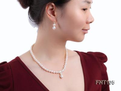 7-8mm White Freshwater Pearl Necklace and Earrings Set FNT105 Image 1