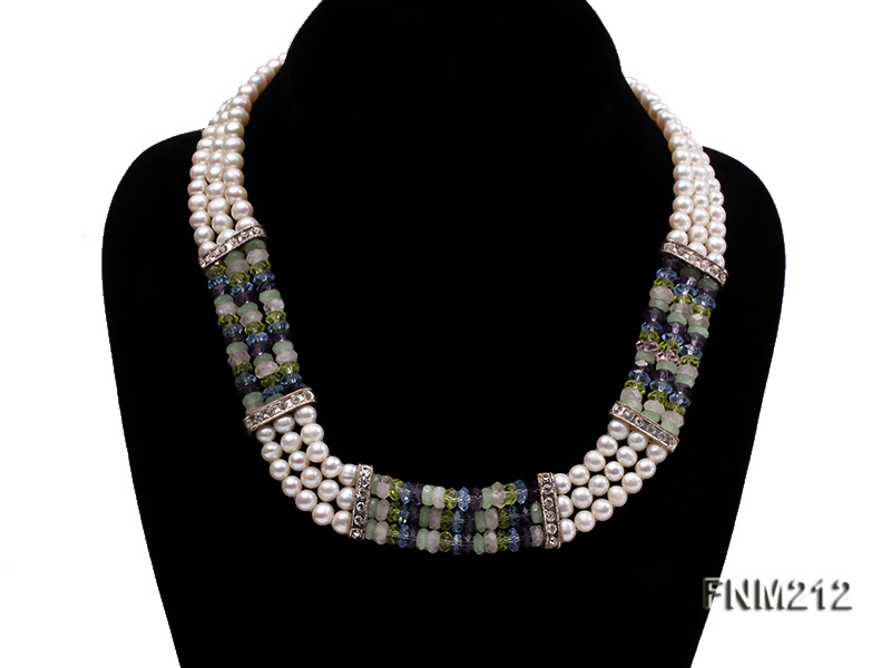 3 strand white freshwater pearl and manmade crystal necklace big Image 1