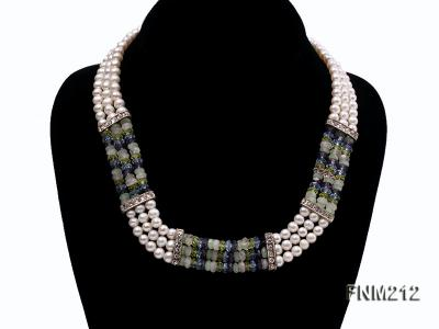 3 strand white freshwater pearl and manmade crystal necklace FNM212 Image 1