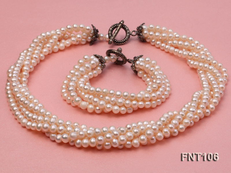 Five-strand 5-6mm White Freshwater Pearl Necklace and Bracelet Set big Image 1