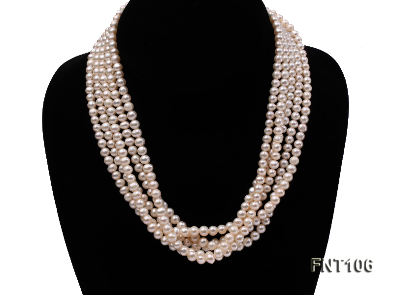 Five-strand 5-6mm White Freshwater Pearl Necklace and Bracelet Set big Image 2