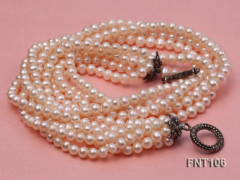 Five-strand 5-6mm White Freshwater Pearl Necklace and Bracelet Set big Image 3