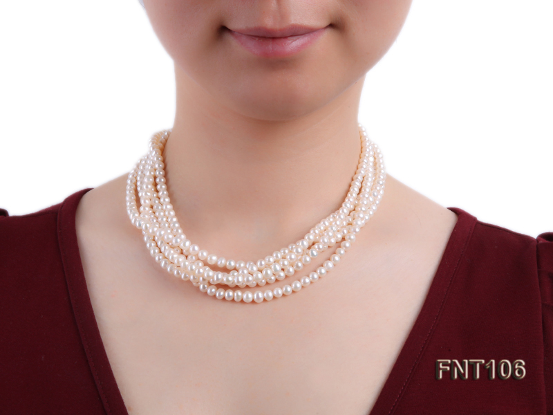 Five-strand 5-6mm White Freshwater Pearl Necklace and Bracelet Set big Image 8