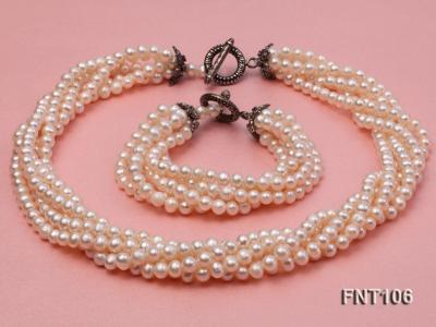 Five-strand 5-6mm White Freshwater Pearl Necklace and Bracelet Set FNT106 Image 1