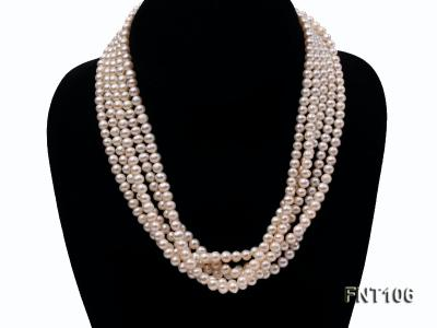 Five-strand 5-6mm White Freshwater Pearl Necklace and Bracelet Set FNT106 Image 2