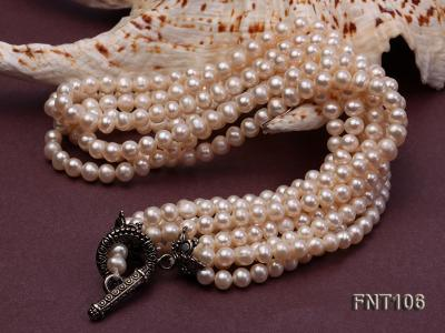 Five-strand 5-6mm White Freshwater Pearl Necklace and Bracelet Set FNT106 Image 4