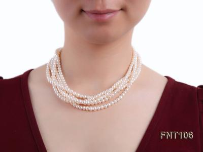 Five-strand 5-6mm White Freshwater Pearl Necklace and Bracelet Set FNT106 Image 8