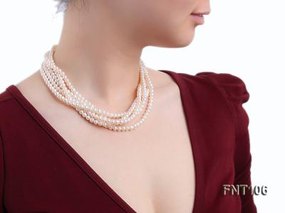 Five-strand 5-6mm White Freshwater Pearl Necklace and Bracelet Set FNT106 Image 9