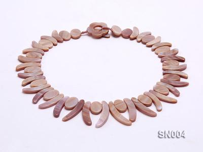 Oval and Ivory-shaped Lavender shell Necklace SN004 Image 1