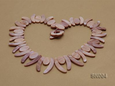 Oval and Ivory-shaped Lavender shell Necklace SN004 Image 2
