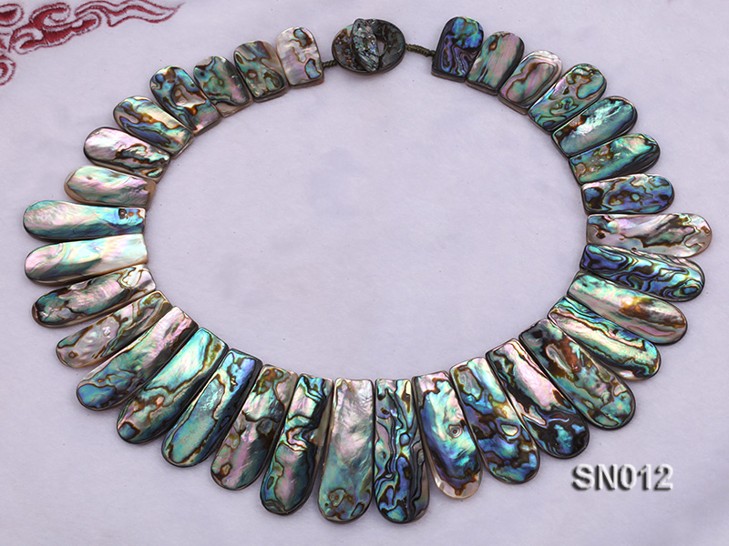 Irregular Colorful Abalone Shell Pieces Necklace big Image 2