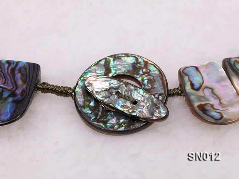 Irregular Colorful Abalone Shell Pieces Necklace big Image 5