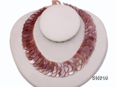 Button-shaped Lavender Shell Pieces Necklace SN016 Image 1