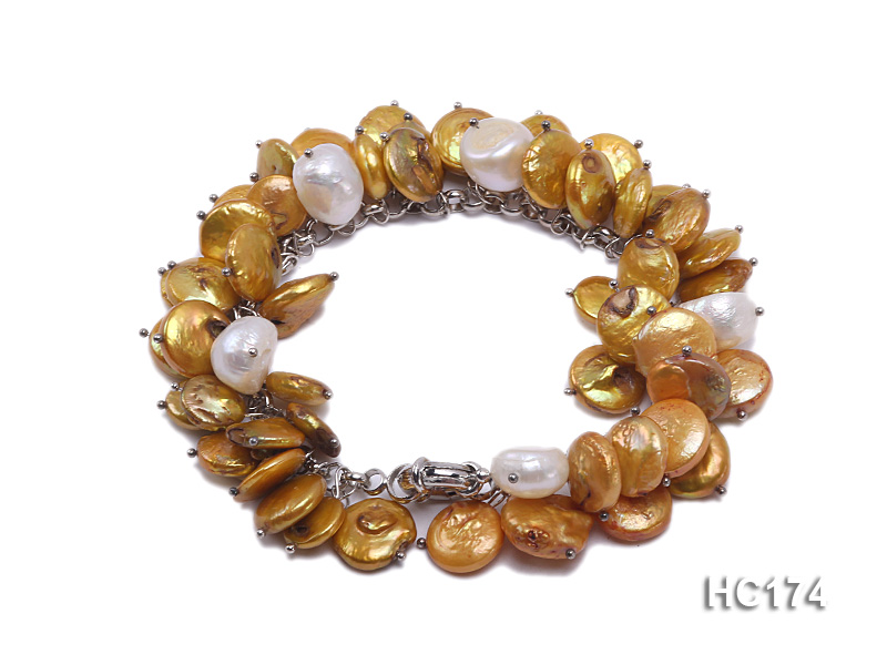 yellow and white button freshwater pearl bracelet big Image 1