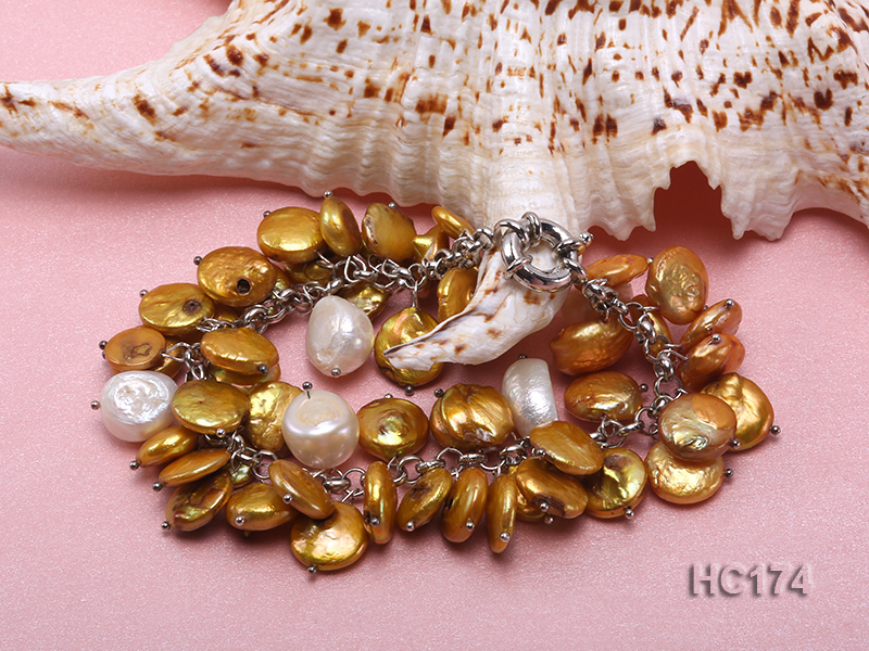 yellow and white button freshwater pearl bracelet big Image 2