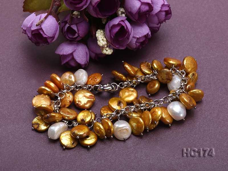 yellow and white button freshwater pearl bracelet big Image 3
