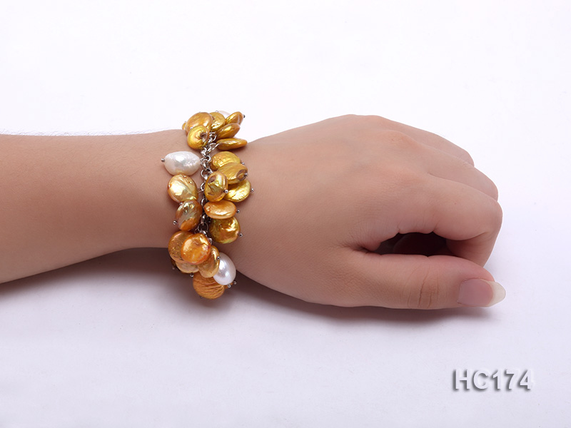 yellow and white button freshwater pearl bracelet big Image 4
