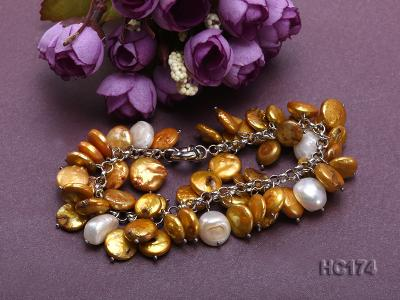 yellow and white button freshwater pearl bracelet HC174 Image 3