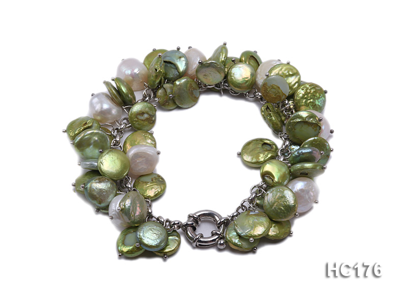 green and white button freshwater pearl bracelet big Image 1