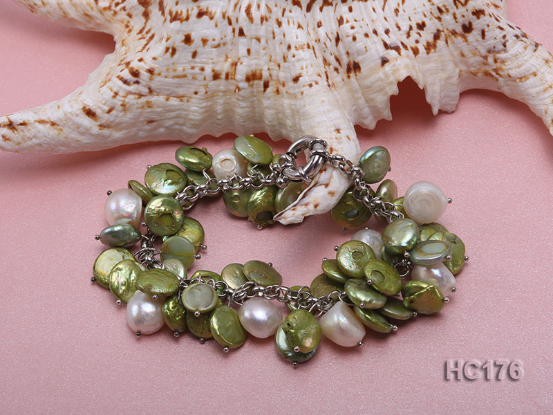 green and white button freshwater pearl bracelet big Image 2