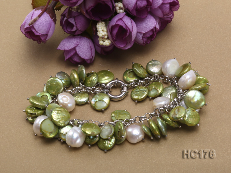 green and white button freshwater pearl bracelet big Image 3