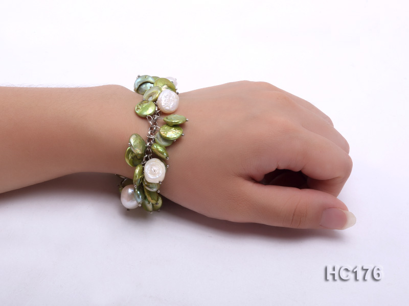 green and white button freshwater pearl bracelet big Image 4
