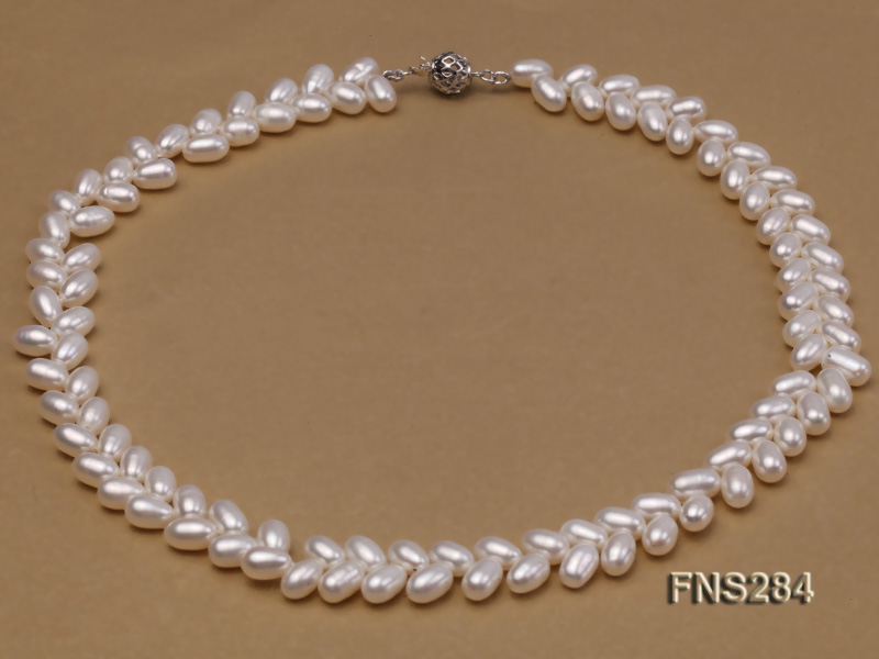 7*10mm natural white selected oval freshwater pearl single strand necklace big Image 1